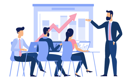 Illustration pour Flat design young man and woman g ready to animation characters to compouse your scenes and animation. Business briefing, studebts at college classroom lecture, creative teamwork illustration. - image libre de droit