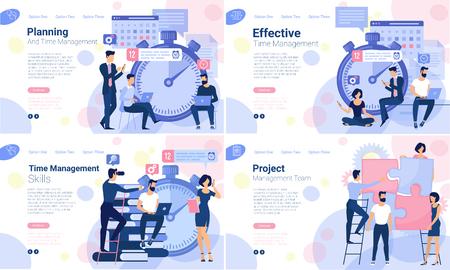 Illustration pour Flat design web page design template for business timeline planning, training and courses schedule, workflow  timeline. Vector concept for website and presentation. - image libre de droit