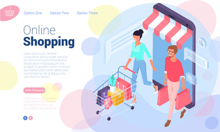 Illustration pour Flat design  isometric web page template for online shopping, digital marketing,  business strategy and analytics. Trendy vector  illustration concept for website and mobile app. - image libre de droit