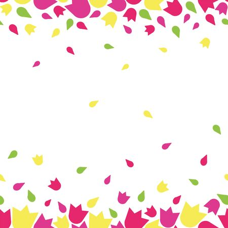 Illustration for Vector beautiful colorful feminine floral tulip flower rain seamless repeat pattern with flower blossoms in pink, purple, yellow and green on white background in paper cut style - Royalty Free Image