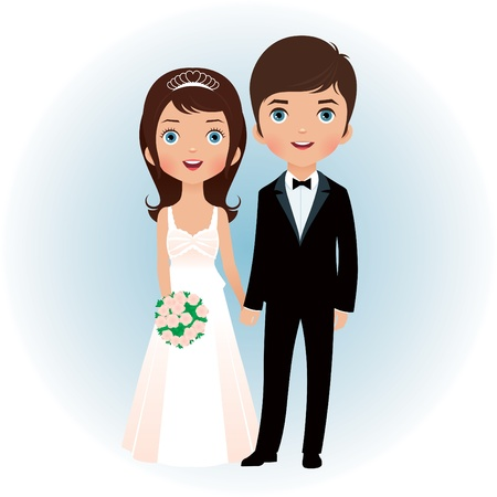 Illustration pour Bride and groom holding hands - image libre de droit
