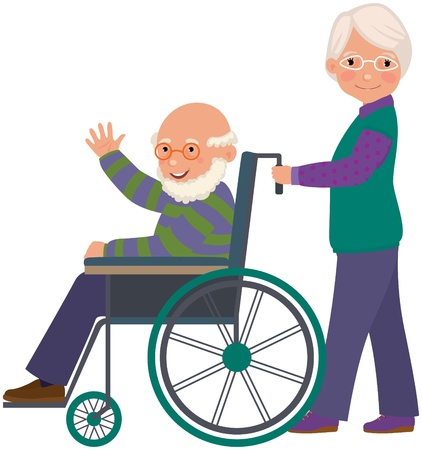 An elderly woman with her husband in a wheelchair