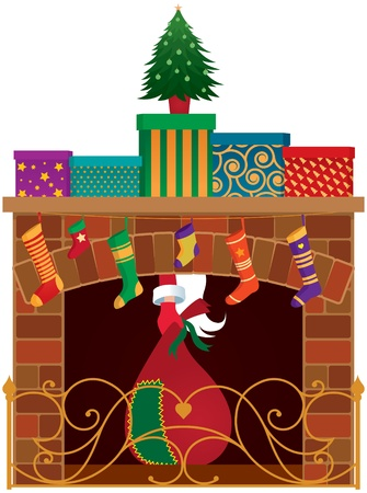 Christmas fireplace, gifts and Santa Claus