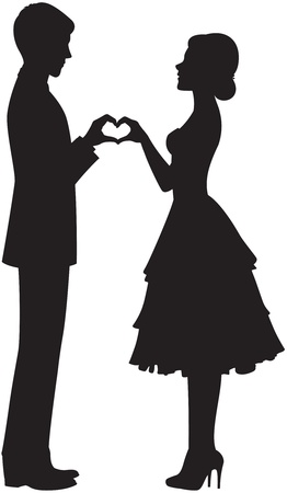 silhouette of the bride and groom holding hands