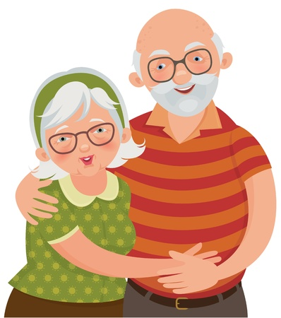 illustration of a loving elderly couple