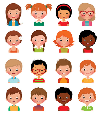 Vector illustration set of different avatars of boys and girls on a white backgroundのイラスト素材