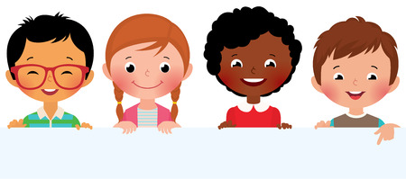 Stock Vector illustration of cute kids holding a blank banner