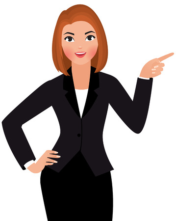 Illustration pour Stock Vector cartoon illustration of a young business woman isolated on a white background points hand at something - image libre de droit
