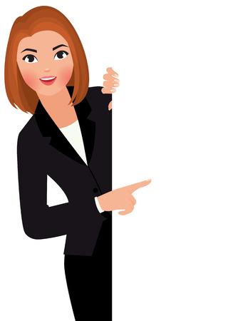 Illustration pour Stock vector cartoon illustration young businesswoman in suit holding large blank white sign. - image libre de droit