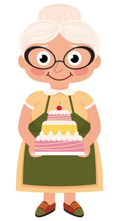 Foto de Stock Vector cartoon illustration of a grandmother baked a cake - Imagen libre de derechos