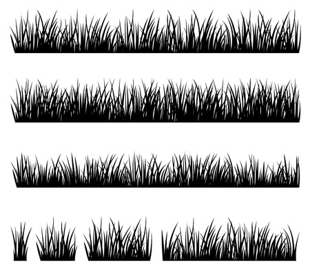 Stock vector illustration Set of silhouette of grass isolated on white background