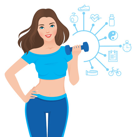 Stock vector illustration slim healthy girl in sportswear is engaged in fitness and infographics showing the components of its success