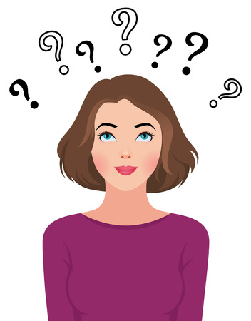 Stock Vector cartoon illustration of a portrait of a beautiful young woman reading asks questions