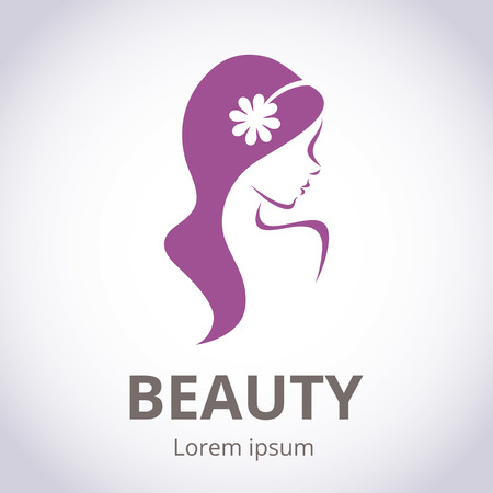 Photo for Abstract logo for beauty salon stylized profile of a young beautiful woman - Royalty Free Image