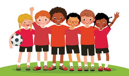 Ilustración de Stock illustration international group kids soccer team on a white background - Imagen libre de derechos