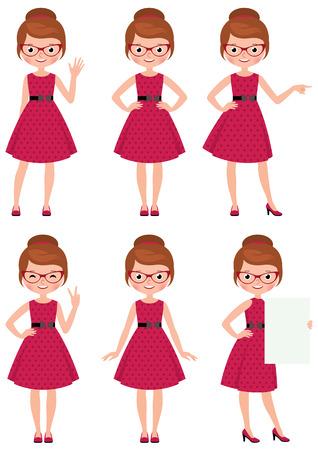 Ilustración de Vector illustration set of cartoon young woman in different poses doing different gestures - Imagen libre de derechos
