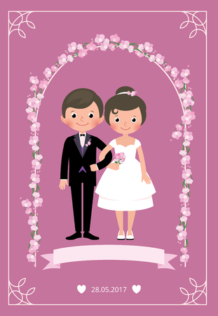 Illustration pour Bride and groom in a wedding dress standing under an arch of flowers holding arm Stock vector illustration - image libre de droit