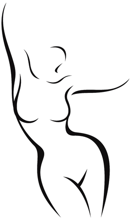 Illustration pour Stylized nude female body in the form of a linear silhouette vector illustration - image libre de droit