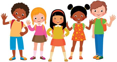 Ilustración de Group of children students Stock Vector cartoon illustration - Imagen libre de derechos