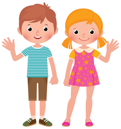 Illustration for Boy and girl in full length welcome vector cartoon illustration - Royalty Free Image