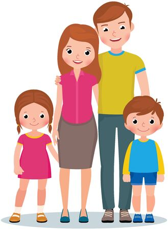 Illustration for Family portrait of parents and their little children son and daughter vector illustration - Royalty Free Image