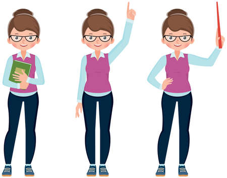 Illustration for Set of cute cartoon young woman teacher in different poses Stock vector Illustration - Royalty Free Image