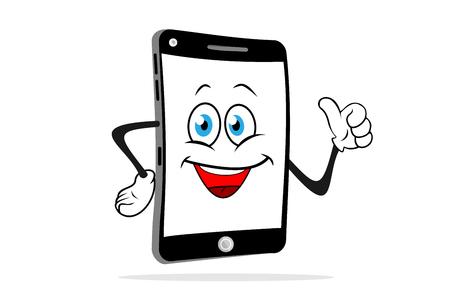 Illustration pour Cartoon smartphone smiles and shows like. Fun vector illustration. - image libre de droit