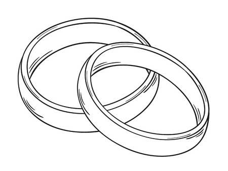 sketch of the two rings as a symbol of love, isolated