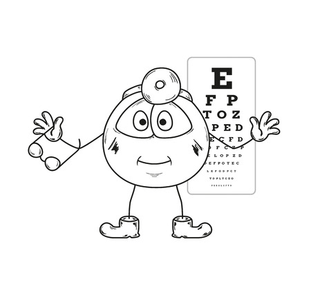 sketch of the ophthalmologist with glasses and snellen chart