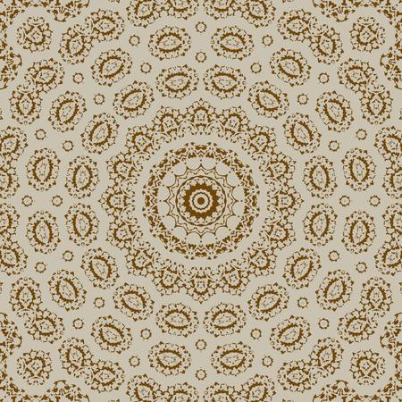 Illustration pour Ornamental seamless pattern - circles with linear ornaments. - image libre de droit