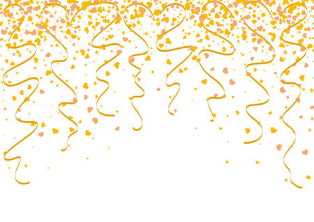 Illustration for Falling gold confetti with heart shape and twisted ribbons as a symbol of celebration and anniversary events. Background wallpaper for christmas or celebration events. - Royalty Free Image