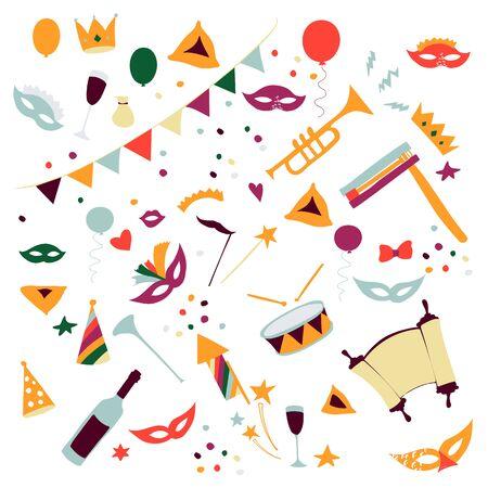 Illustration for Vector illustration Happy Purim carnival set of design elements. Purim Jewish holiday, isolated on white background. - Royalty Free Image