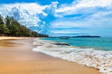 A tropical island with sandy beach