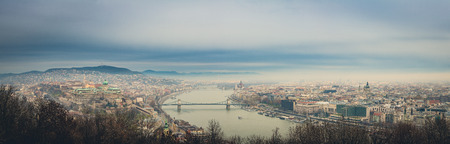 Budapest panoramic view from hellert hill. Hungary.