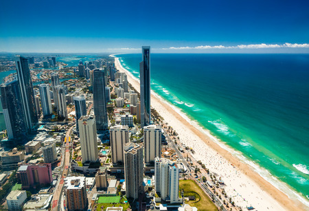 GOLD COAST, AUS - OCT 04 2015: Aerial view of the Gold Coast in Queensland Australia looking from Surfers Paradise north towards Brisbane.