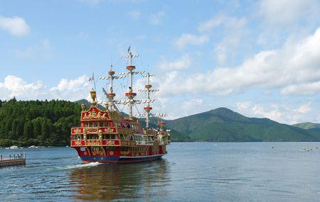 Sailboat in the lake Hakone (Japan)