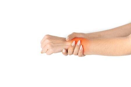 Carpal tunnel. Hand pain in woman injury wrist. Arthritis office syndrome is consequence of computer. Health care isolated on white background.の素材 [FY310150336154]