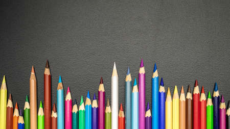 Foto de Blackboard background. Education accessories with colorful pencils, chalk, brushes on dark school blackboard. Design Copy Space Supplies. Top View, Flat Lay. - Imagen libre de derechos