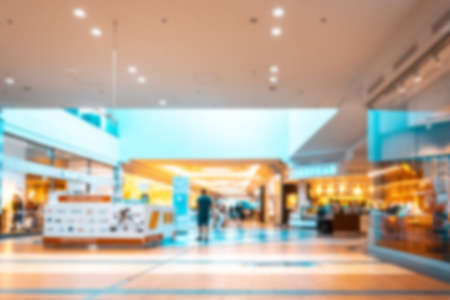 Foto für Young people shopping mall blurred background. Interior of retail centre store in soft focus. People shopping in modern commercial mall center. Fashion market hall. - Lizenzfreies Bild