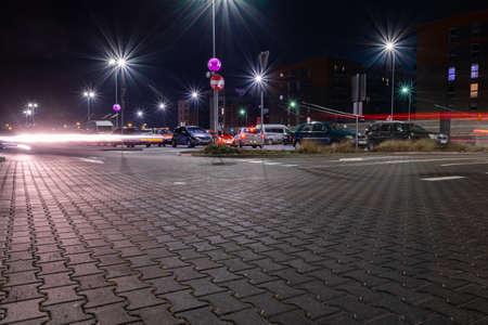 Photo pour Parking lot. Car lot parking space in underground city garage. Empty road asphalt background. Ground floor for car parking - image libre de droit