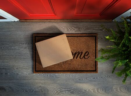 Photo pour E-commerce purchase delivered to the front door. Overhead view. Add your own label - image libre de droit