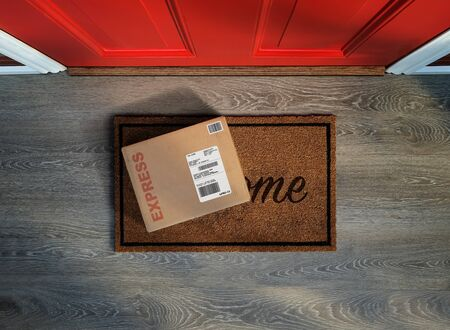 Photo pour Rush delivery, online purchase outside the front door. Overhead view. - image libre de droit