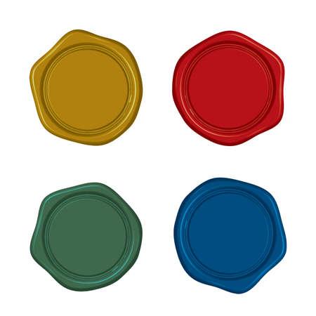 Illustration pour Material: Antique sealing wax (4 color set) - image libre de droit