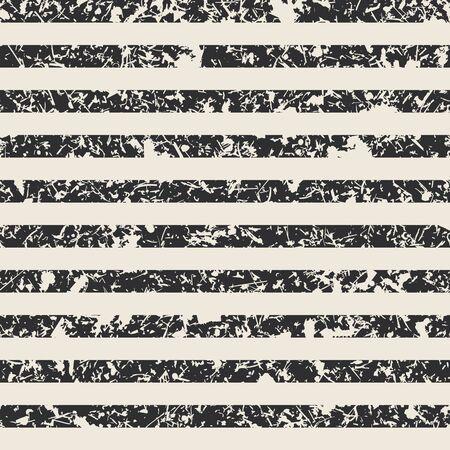 Illustration pour Distressed stripe pattern in black and cream - image libre de droit