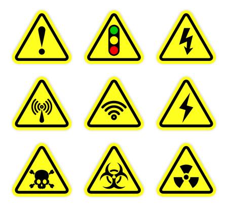 Illustration pour warning, signal symbol and radiation sign set - image libre de droit