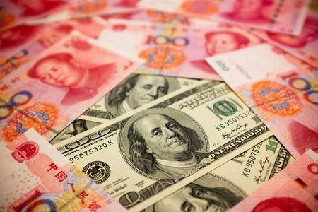 Chinese Yuan and U dollar background Exchange rate Note S concept