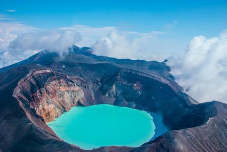 Sulfur lake in volcano's carter, Kamchatka, Russia