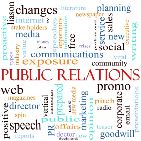 An illustration around the words Public Relations with lots of different terms such as communications, web, community, social, viral, media and a lot more.