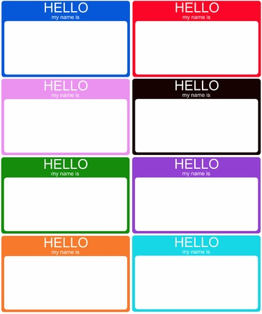 A set of 8 colorful Hello My Name is nametag stickers in blue, red, pink, black, green, purple, orange and aqua.