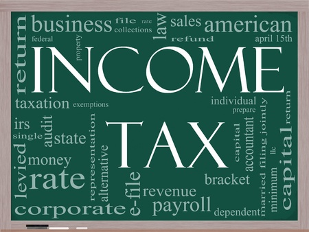 A word cloud concept around the words Income Tax on a blackboard with great terms such as April, refund, rate, bracket, file, prepare and more